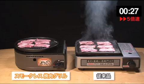 イワタニ スモークレス焼き肉グリル やきまる CB-SLG-1と従来製品の煙の出具合の違い