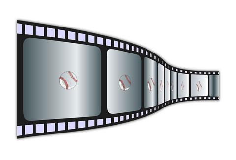 映画のコマ送りのように見える野球のボール