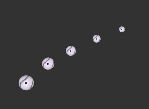飛んでくるボールのストロボ画像