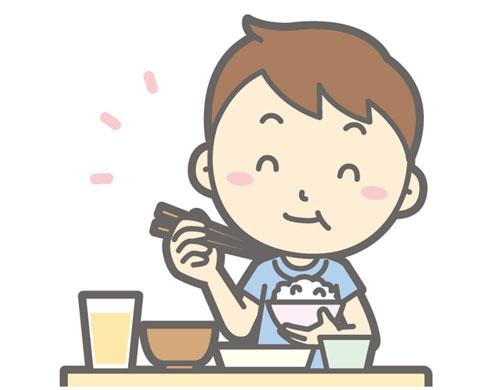 消化の良いものを食べている人