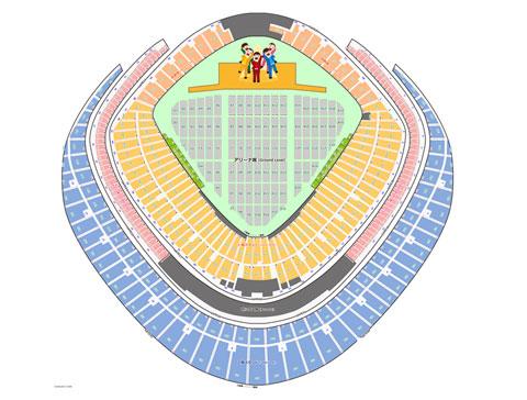 コンサート会場がドーム球場の時の堰の配置