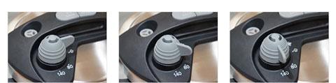 ワンダーシェフ圧力鍋オースプラスの圧力切り替えスイッチ