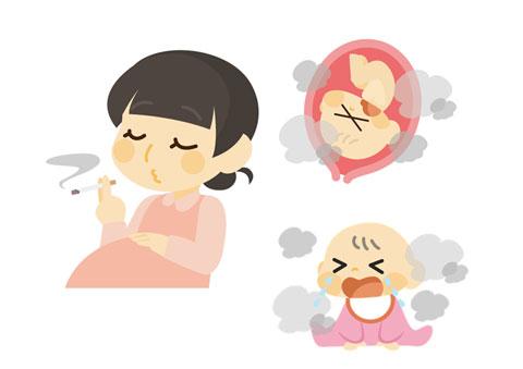 タバコを吸っていて胎児や赤ちゃん悪影響を与えている女性