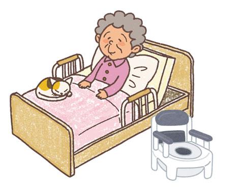 介護中の高齢者と簡易トイレ