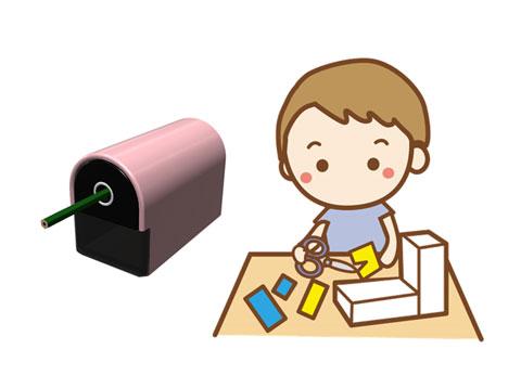 鉛筆削りと子供