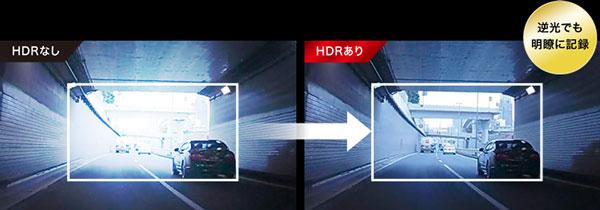 ケンウッドDRV-830のトンネル出口での画面