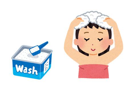 洗濯洗剤でシャンプーしている人