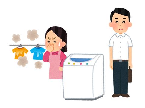 洗濯したワイシャツを着ている人