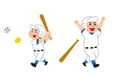 ヒットを打った野球選手