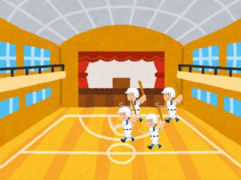 野球部員が体育館で練習しているところ