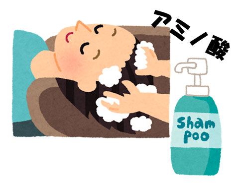 アミノ酸シャンプーでシャンプーしている人
